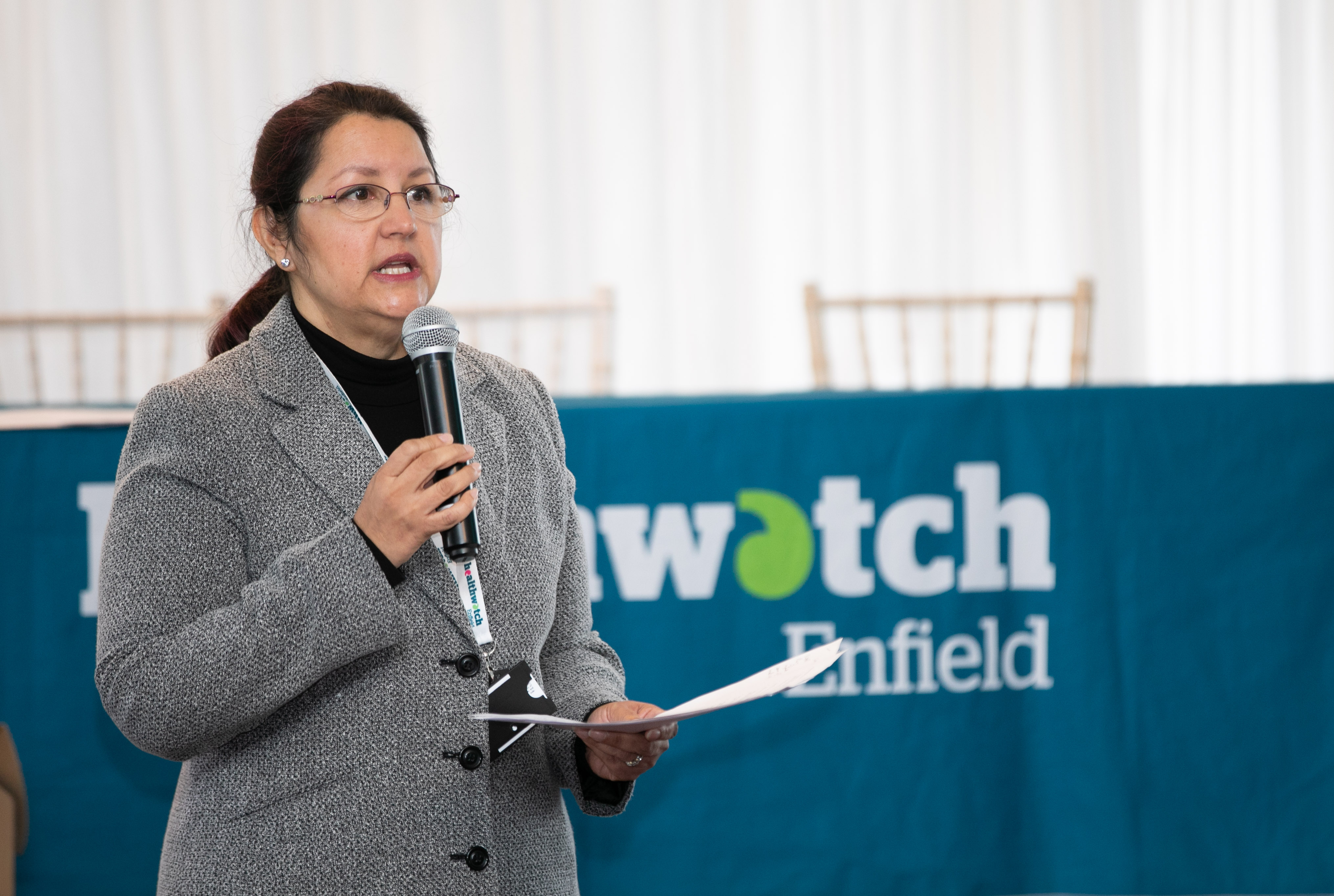 Healthwatch Enfield Acting CEO talking at annual conference