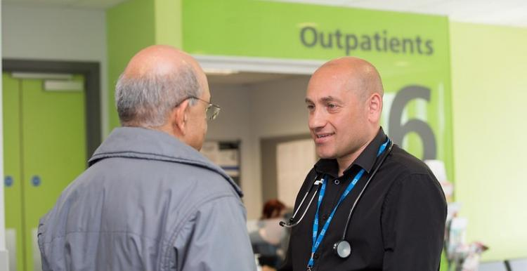 Two met talking in the hospital reception