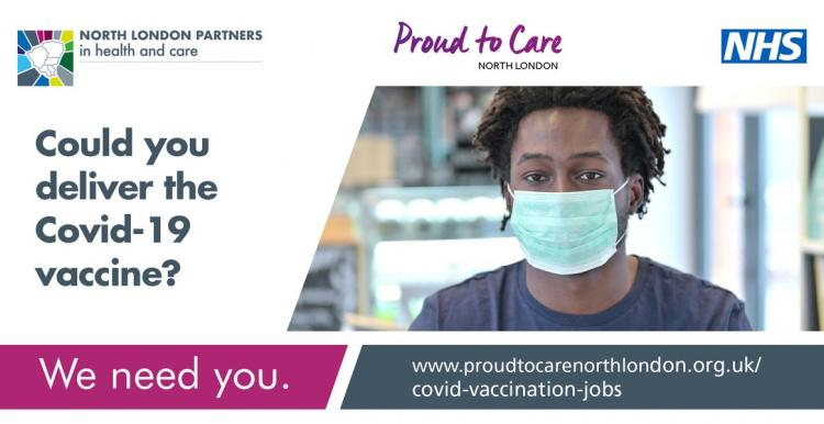 Recruitment poster about Coronavirus vacccine helpers
