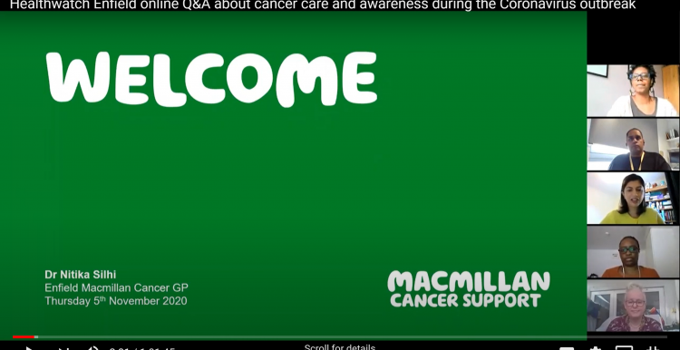 Screen shot from our online event about cancer care and awareness