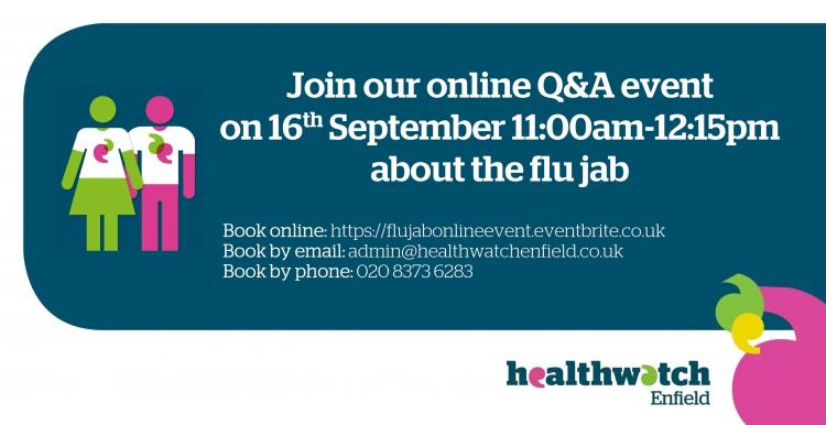 flu jab online event poster on the 16th september 11:00am - 12:15pm
