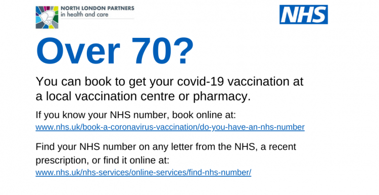 Coronavirus vaccination booking for over 70s