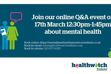 mental health event poster 17th March 12:30pm -1:45pm