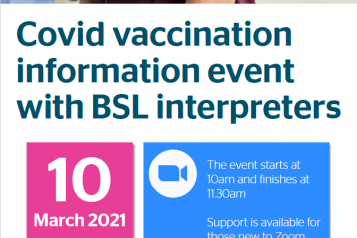 Healthwatch Islington BSL vaccine online event poster 10th March 10am - 11:30am