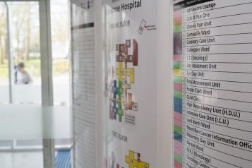 A wall chart with directions in a hospital