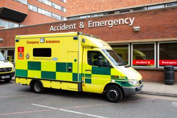 Emergency ambulance outside an accident and emergency department