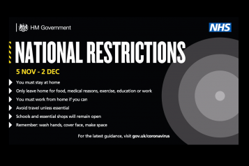 Poster about the new national restrictions for Coronavirus starting 5th November