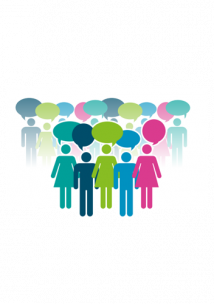 People standing and speaking graphic